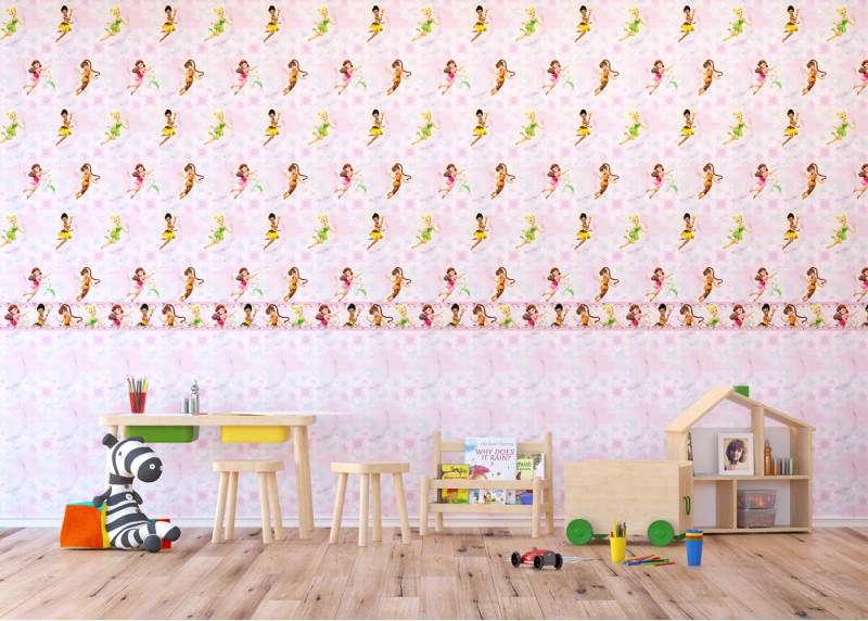 Disney víly v květinách, samolepící bordura do dětského pokoje, 5 m x 14 cm, WBD 8062