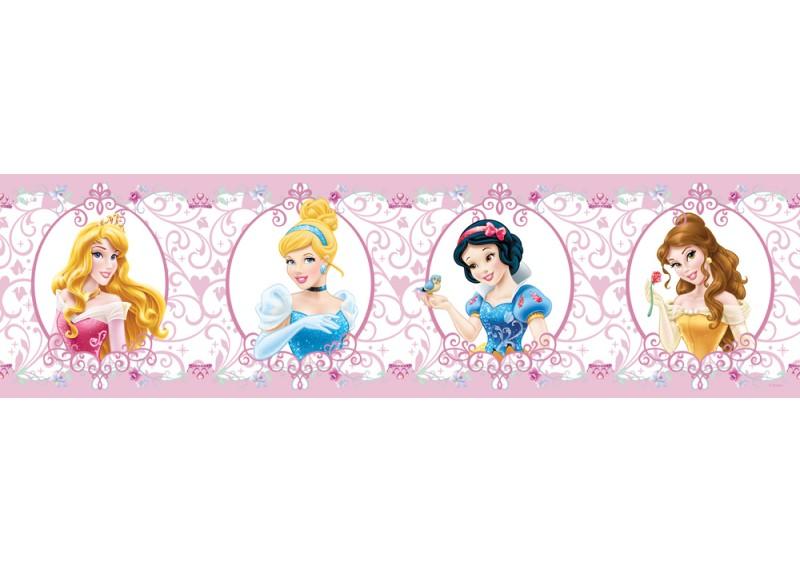 Disney princezny s medailony, samolepící bordura do dětského pokoje, 5 m x 14 cm, WBD 8065