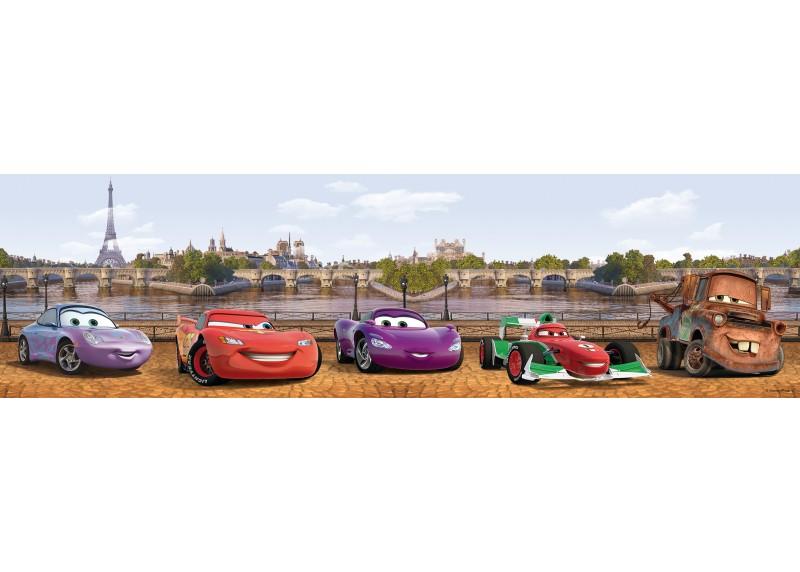 Hrdinové Cars v Paříži, Disney, samolepící bordura do dětského pokoje, 5 m x 14 cm, WBD 8062