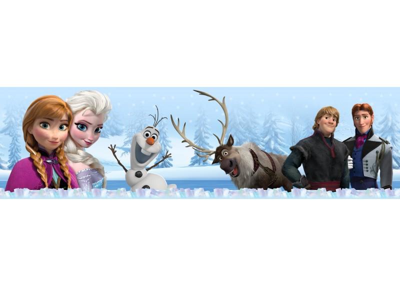 Postavičky Frozen v zimním lese, Disney, samolepící bordura do dětského pokoje, 5 m x 14 cm, WBD 8073