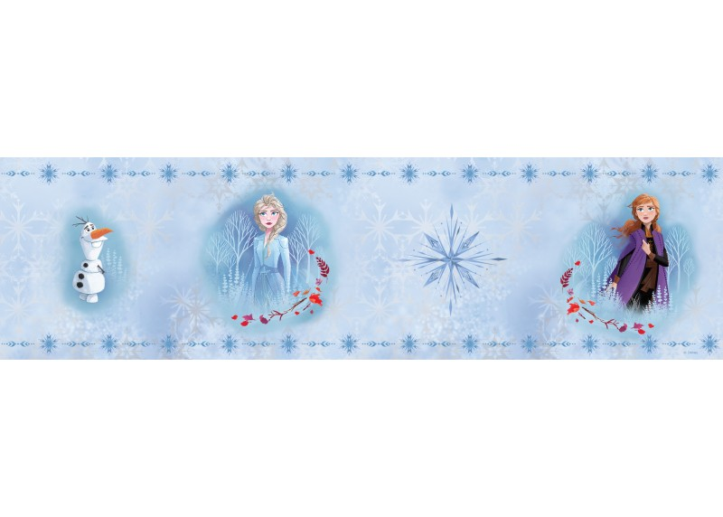 Olaf s Elsou a Annou, Frozen 2, Disney, samolepící bordura do dětského pokoje, 5 m x 14 cm, WBD 8109