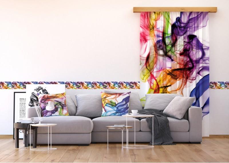 Barevný magický kouř, samolepící bordura pro stěny obývacího pokoje, ložnice, jídelny, kuchyně, chaty, AG Design, 5 m x 14 cm, WB 8201