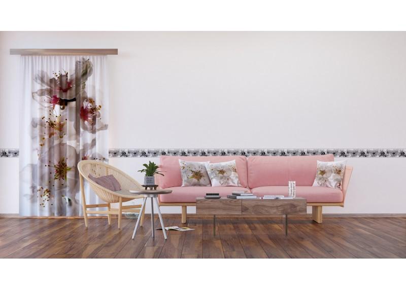 Něžné květy jabloní, samolepící bordura pro stěny obývacího pokoje, ložnice, jídelny, kuchyně, chaty, AG Design, 5 m x 14 cm, WB 8208