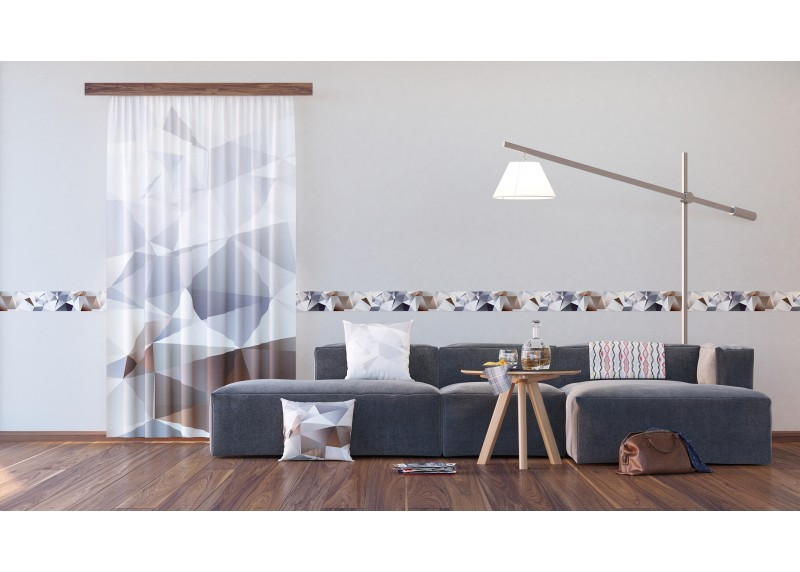 3D Pyramidy, samolepící bordura pro stěny obývacího pokoje, ložnice, jídelny, kuchyně, chaty, AG Design, 5 m x 14 cm, WB 8213