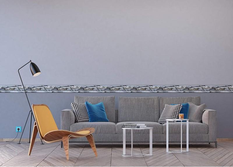 Kameny na pláži, samolepící bordura pro stěny obývacího pokoje, ložnice, jídelny, kuchyně, chaty, AG Design, 5 m x 14 cm, WB 8215