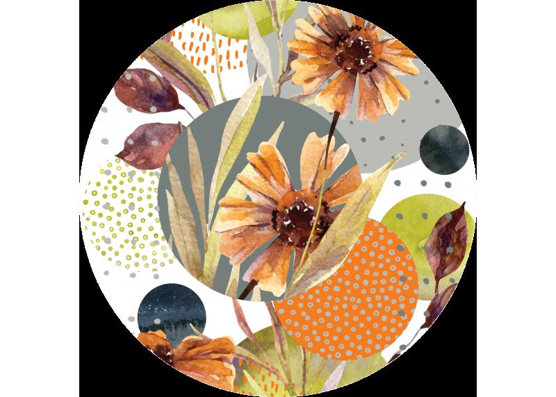 Abstrakce tvary a květiny, AG Design, fototapeta ekologická vliesová do obývacího pokoje, ložnice, jídelny, kuchyně, 140x140