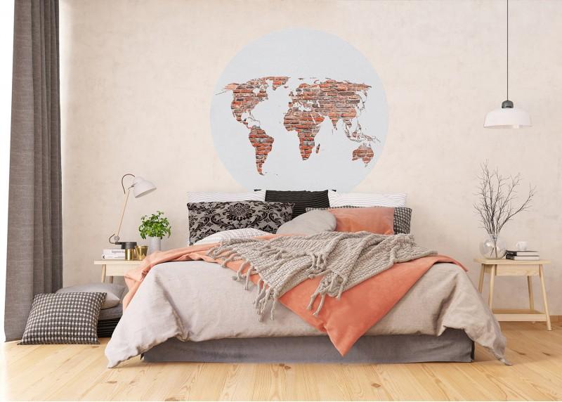 Retro mapa v cihlové barvě, AG Design, fototapeta ekologická vliesová do obývacího pokoje, ložnice, jídelny, kuchyně, 140x140
