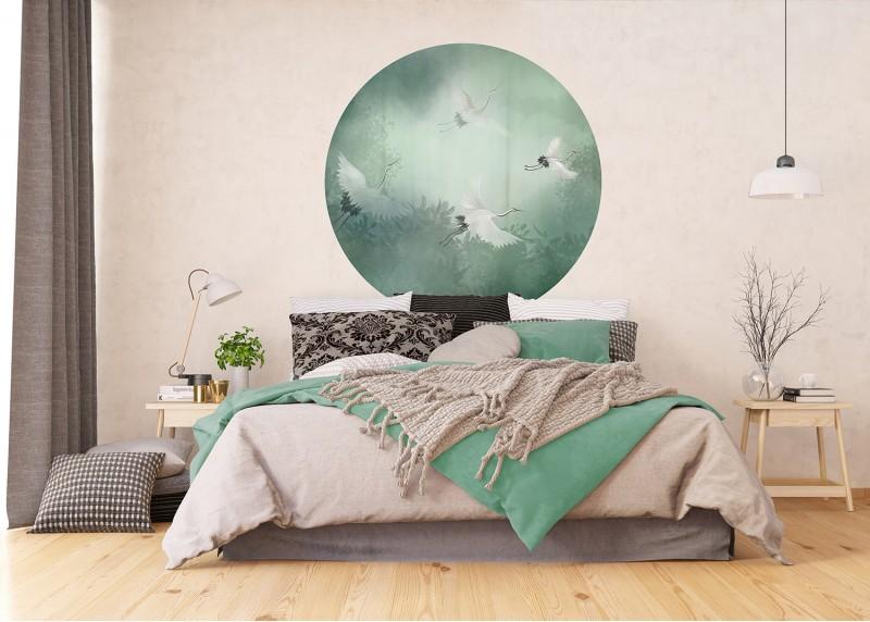 Letící jeřáby, AG Design, fototapeta ekologická vliesová do obývacího pokoje, ložnice, jídelny, kuchyně, 140x140