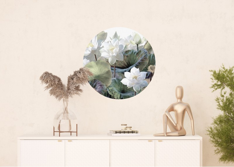 Bílé lotosy, AG Design, fototapeta ekologická vliesová do obývacího pokoje, ložnice, jídelny, kuchyně, 70x70