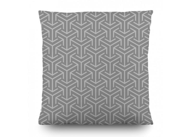 Geometrický orientální ornament na šedém pozadí, dekorativní polštář AG Design, 45 x 45 cm, do obývacího pokoje, kuchyně, ložnice či chaty, CN 3628