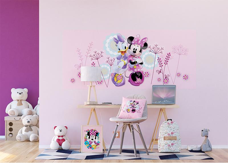 Myška Minnie a Daisy v květinách, Disney, dekorativní polštář AG Design, 40 x 40 cm,  do dětského pokoje, CND 3133