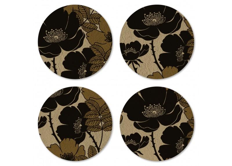 Designové květy na zlato – hnědém podkladu, Felt Mat AG Design, 10x10 cm,  FM 4701