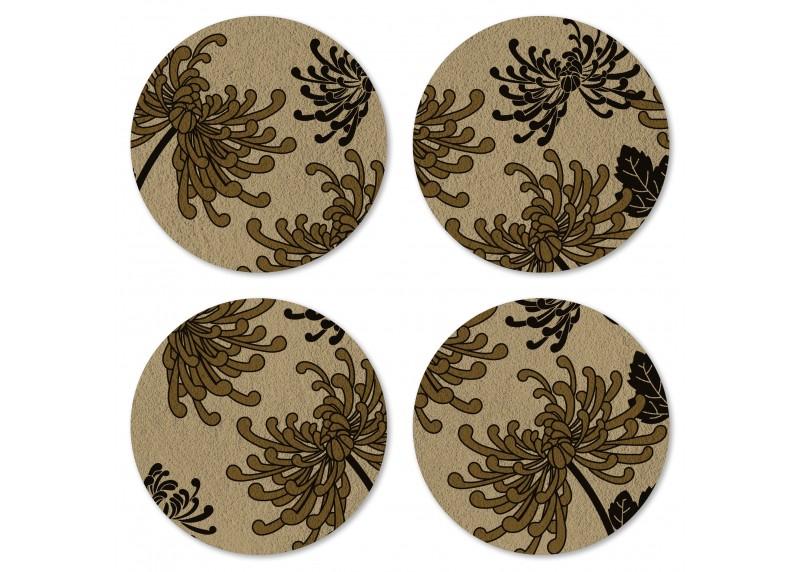 Japonské květy na zlato – hnědém podkladu, Felt Mat AG Design, 10x10 cm,  FM 4702