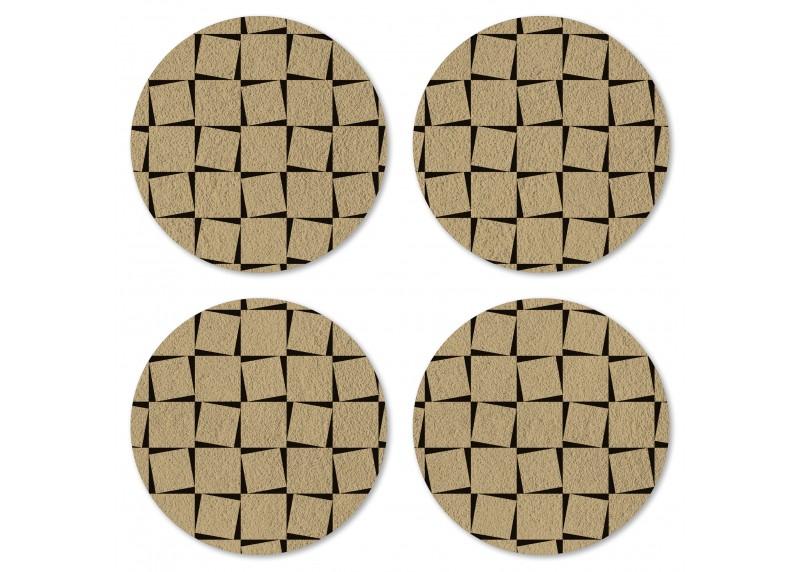 Tartanový motiv na zlato-hnědém podkladu, Felt Mat AG Design, 10x10 cm,  FM 4703