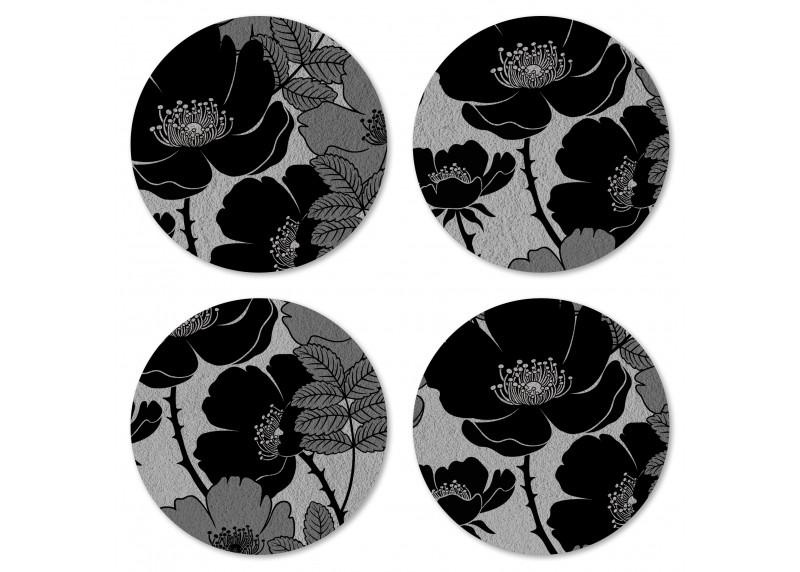 Designové květy na podkladu ušlechtilé šedé, Felt Mat AG Design, 10x10 cm,  FM 4708