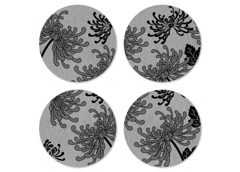 Japonské květy na ušlechtilé šedém podkladu, Felt Mat AG Design, 10x10 cm,  FM 4709