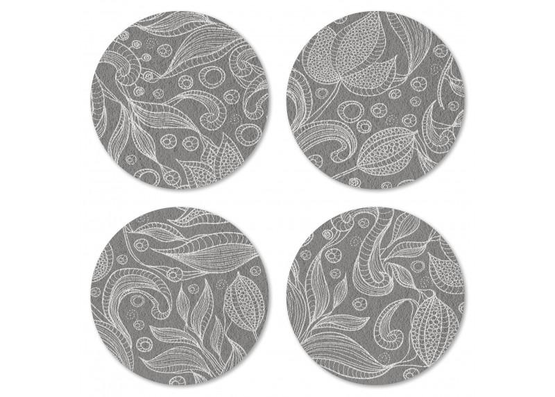 Bílý motiv na šedém podkladu, Felt Mat AG Design, 10x10 cm,  FM 4714