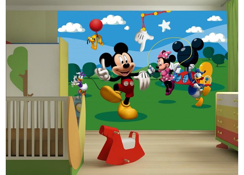 Mickey Mouse si hraje s přáteli, Disney, papírová fototapeta pro dětský pokoj, 360 x 254 cm, 4 díly, FTD 0253