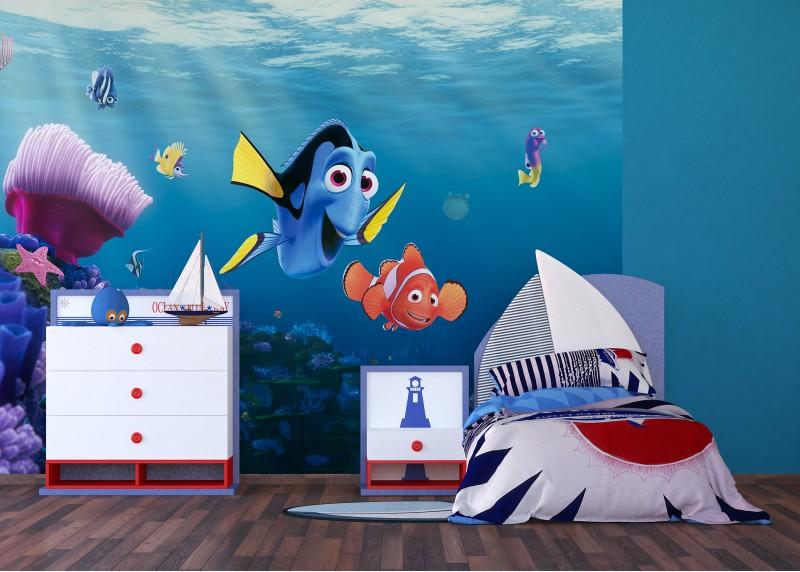 Dory a Nemo plavou, Disney, papírová fototapeta pro dětský pokoj, 360 x 254 cm, 4 díly, FTD 2223
