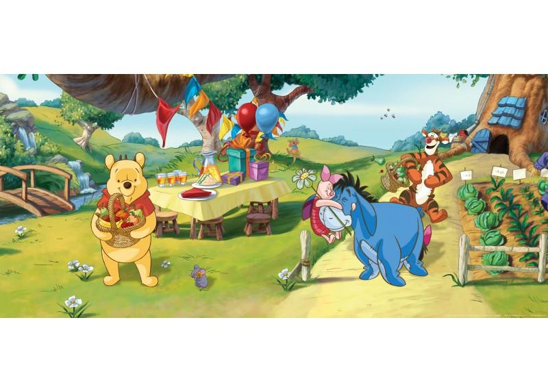 Narozeniny Medvídka Pú, Disney, vliesová fototapeta pro dětský pokoj, 202 x 90 cm, FTDN H 5316