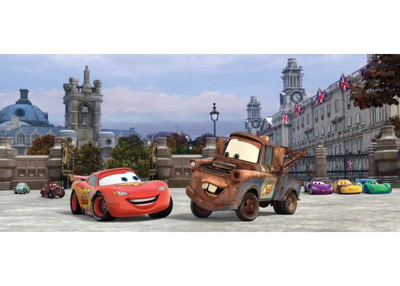Cars v Anglii, Disney, AG Design, fototapeta do dětského pokoje, lepidlo součástí balení, 202x90