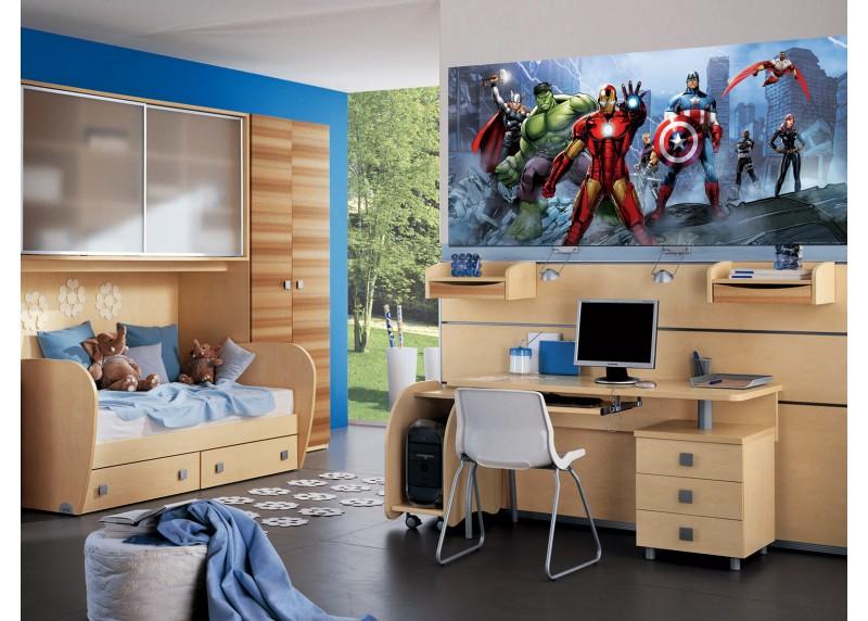 Avengers v boji proti nepřátelům, AG Design, fototapeta do dětského pokoje, lepidlo součástí balení, 202x90