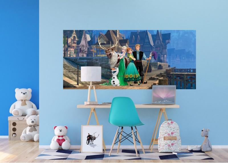 Anna a Elsa ve městě, Ledové království, Disney, AG Design, fototapeta do dětského pokoje, lepidlo součástí balení, 202x90