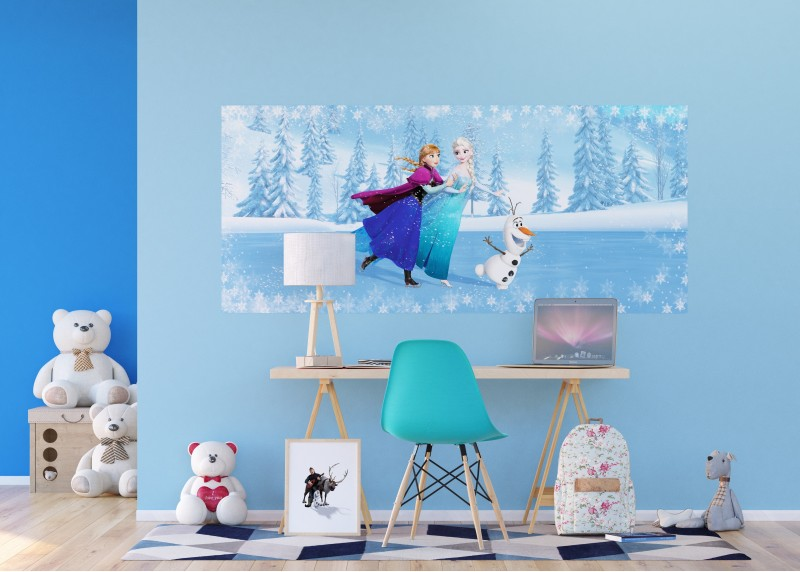 Elza, Anna a Olaf na bruslích, Disney, vliesová fototapeta pro dětský pokoj, 202 x 90 cm, FTDN H 5366