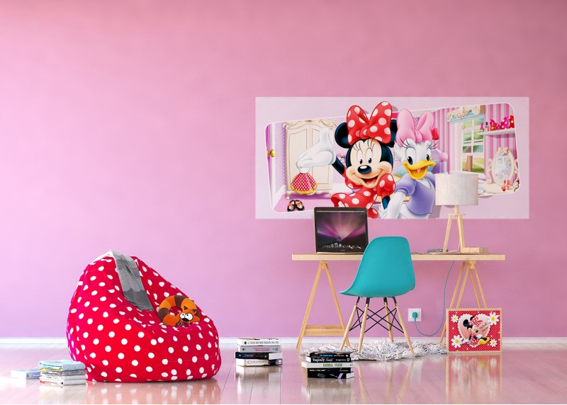 Mini Mouse a Dejzy v pokoji, Disney, vliesová fototapeta pro dětský pokoj, 202 x 90 cm, FTDN H 5383