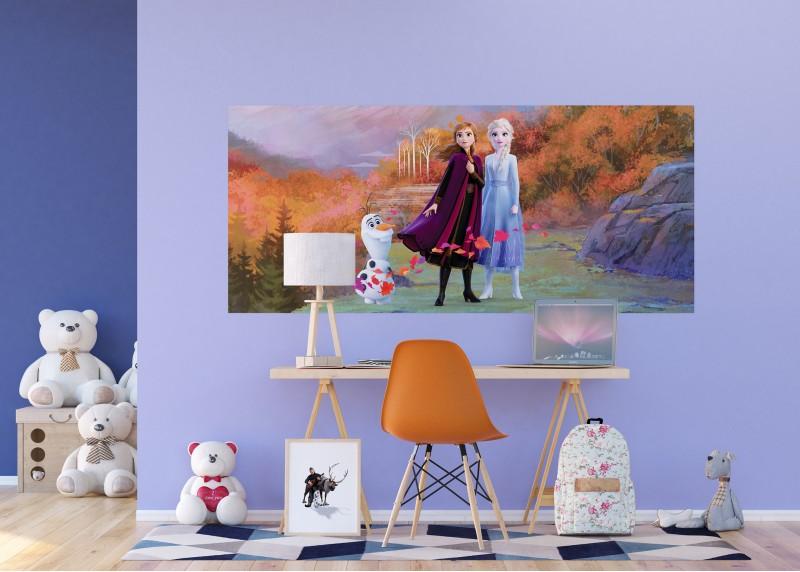 Elza, Anna a Olaf na horské cestě, Frozen2, Disney, vliesová fototapeta pro dětský pokoj, 202 x 90 cm, FTDN H 5387