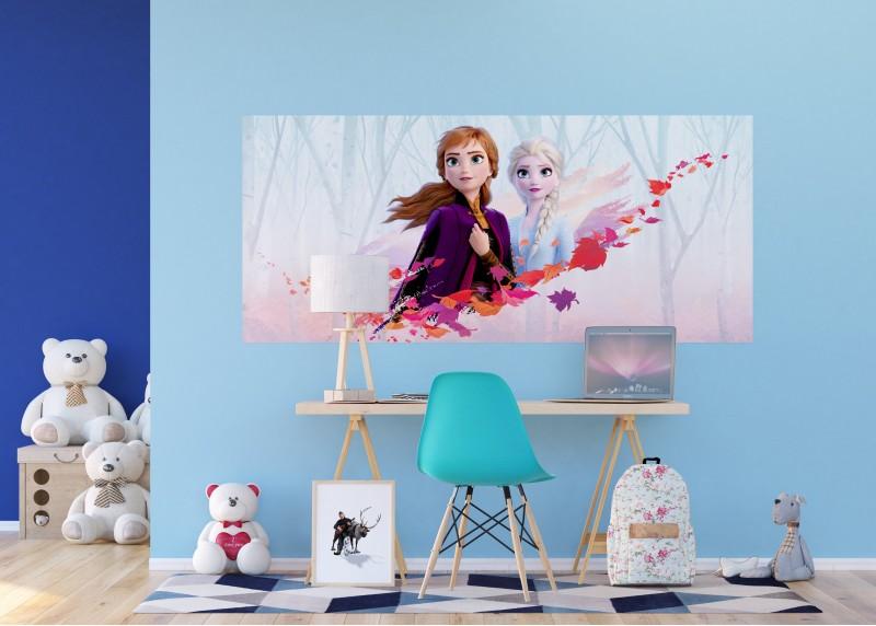 Elza a Anna v podzimním větru, Frozen2, Disney, vliesová fototapeta pro dětský pokoj, 202 x 90 cm, FTDN H 5388