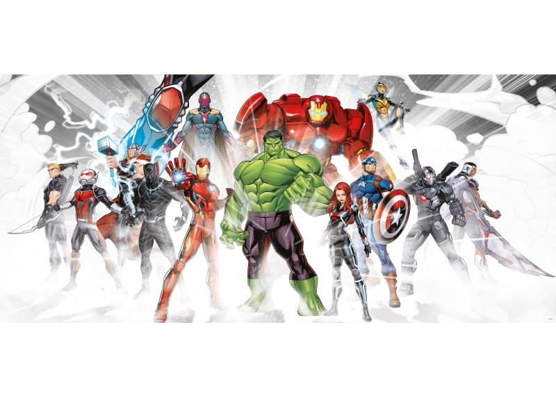 Avengers připravení k boji, Marvel, AG Design, fototapeta do dětského pokoje, lepidlo součástí balení, 202x90