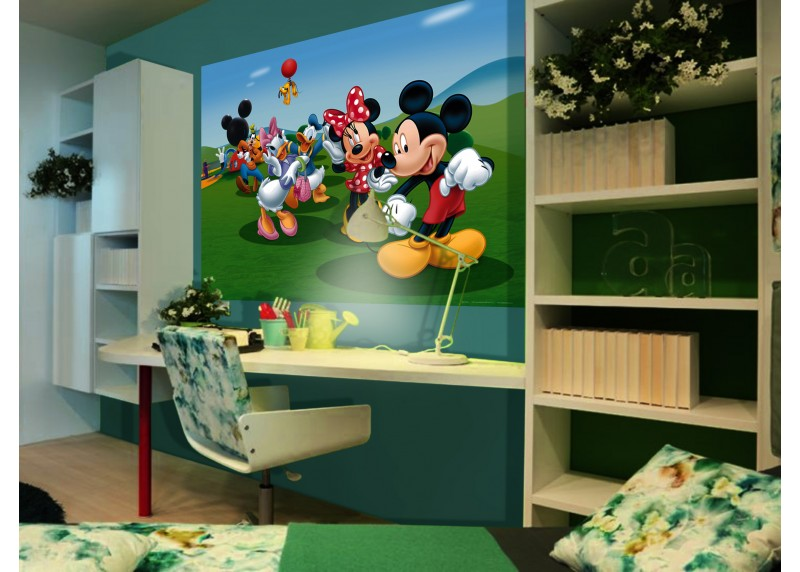 Micky Mouse tancuje s přáteli, Disney, vliesová fototapeta pro dětský pokoj, 160 x 110 cm, FTDN M 5212