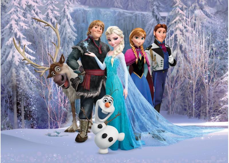 Hrdinové Frozen v lese , Disney, vliesová fototapeta pro dětský pokoj, 160 x 110 cm, FTDN M 5227