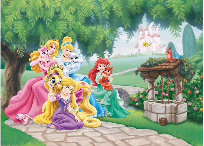 Princezny Disney se svými zvířecími miláčky, Disney, vliesová fototapeta pro dětský pokoj, 160 x 110 cm, FTDN M 5231