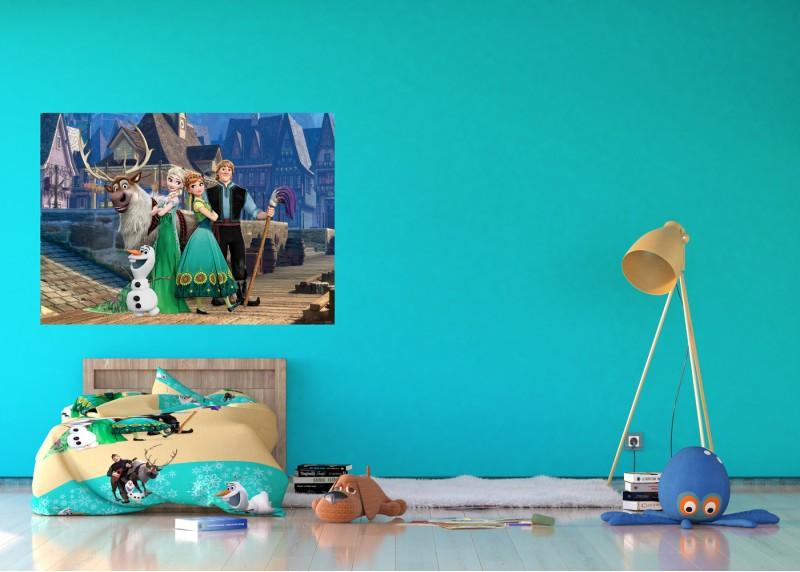 Anna a Elsa ve městě, Ledové království, Disney, AG Design, fototapeta do dětského pokoje, lepidlo součástí balení, 160x110