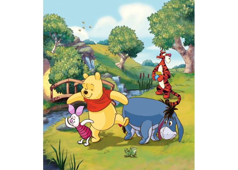 Medvídek Pú na můstku, Disney, vliesová fototapeta pro dětský pokoj, 180 x 202 cm, 2 díly, FTDN XL 5135