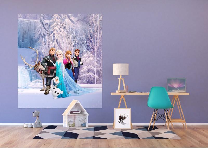 Postavy Frozen v kouzelném lese, Disney, vliesová fototapeta pro dětský pokoj, 180 x 202 cm, 2 díly, FTDN XL 5139