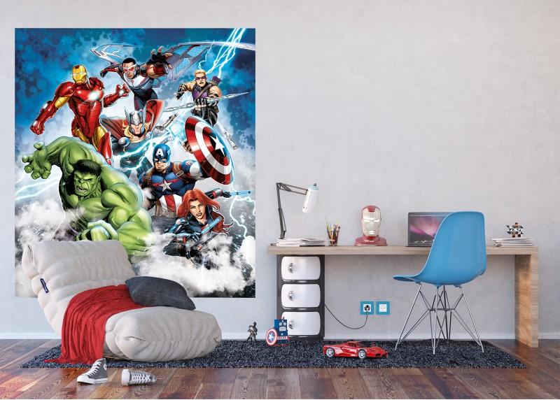 Avengers v zuřivém blesku, Marvel, AG Design, fototapeta do dětského pokoje, lepidlo součástí balení, 180x202