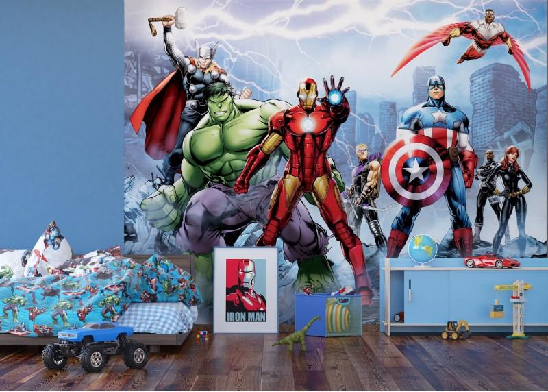 Avengers v boji proti nepřátelům, Marvel, AG Design, fototapeta do dětského pokoje, lepidlo součástí balení, 360x270