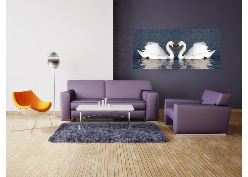 Labutě, AG Design, fototapeta ekologická vliesová do obývacího pokoje, ložnice, jídelny, kuchyně, lepidlo součástí balení, 202x90