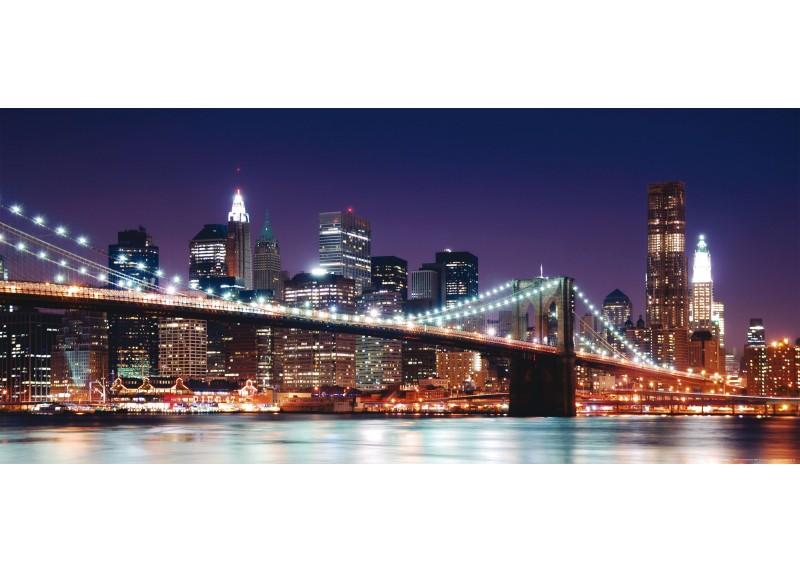 Brooklynský most večerem, vliesová fototapeta do obývacího pokoje, ložnice, jídelny, kuchyně či chaty, AG Design, 202 x 90 cm, FTN H 2714