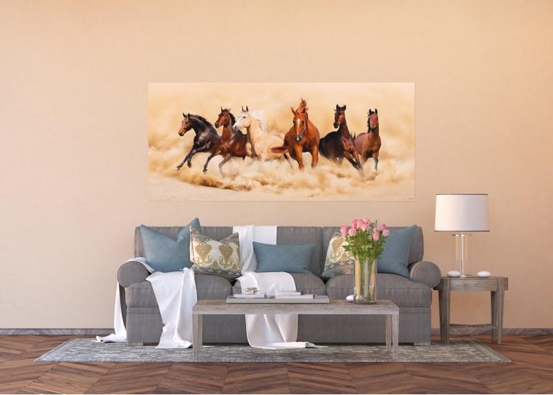 Závod ušlechtilých koní, vliesová fototapeta do obývacího pokoje, ložnice, jídelny, kuchyně či chaty, AG Design, 202 x 90 cm, FTN H 2748