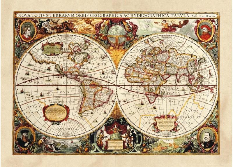 Historická mapa, vliesová fototapeta do obývacího pokoje, ložnice, jídelny, kuchyně či chaty, AG Design, 160 x 110 cm, FTN M 2630