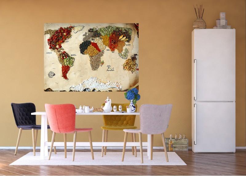 Mapa světa z koření, AG Design, fototapeta ekologická vliesová do obývacího pokoje, ložnice, jídelny, kuchyně, lepidlo součástí balení, 160x110