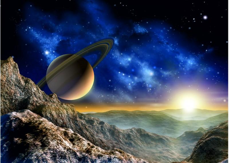 Velkolepý Saturn, vliesová fototapeta do obývacího pokoje, ložnice, jídelny, kuchyně či chaty, AG Design, 160 x 110 cm, FTN M 2684