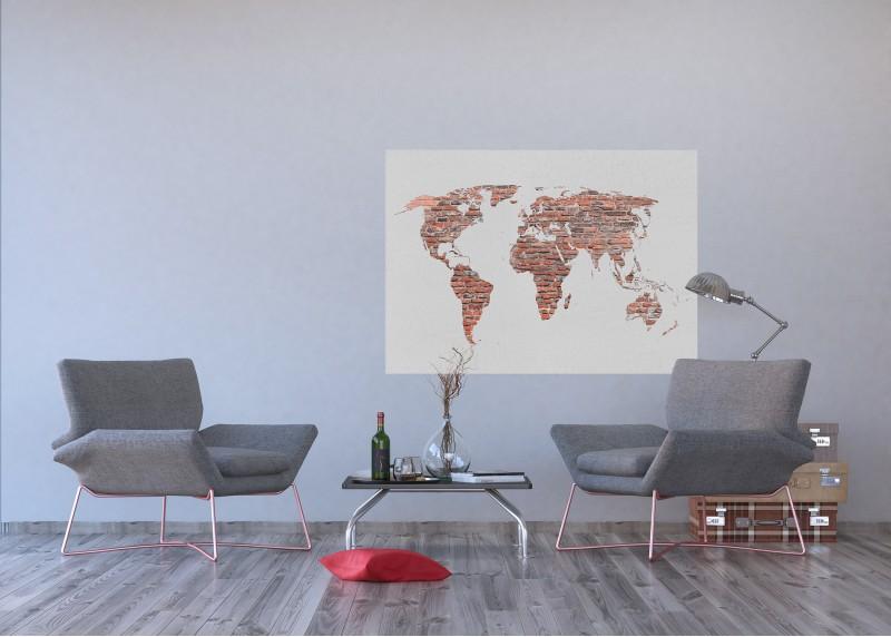 Retro mapa v cihlové barvě, vliesová fototapeta do obývacího pokoje, ložnice, jídelny, kuchyně či chaty, AG Design, 160 x 110 cm, FTN M 2695