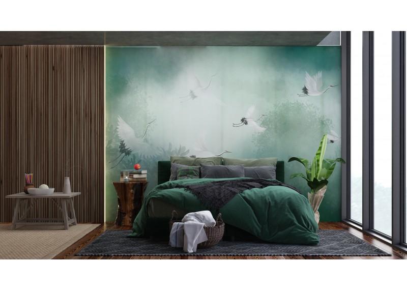 Letící jeřáby, 360x270, AG Design, fototapeta ekologická vliesová do obývacího pokoje, ložnice, jídelny, kuchyně, lepidlo součástí balení, 360x270