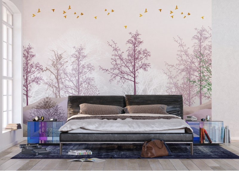 Barevný les, AG Design, fototapeta ekologická vliesová do obývacího pokoje, ložnice, jídelny, kuchyně, lepidlo součástí balení, 360x270