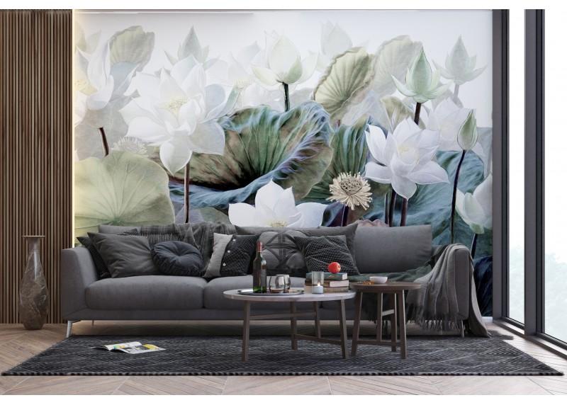 Bílé lotosy, AG Design, fototapeta ekologická vliesová do obývacího pokoje, ložnice, jídelny, kuchyně, lepidlo součástí balení, 360x270